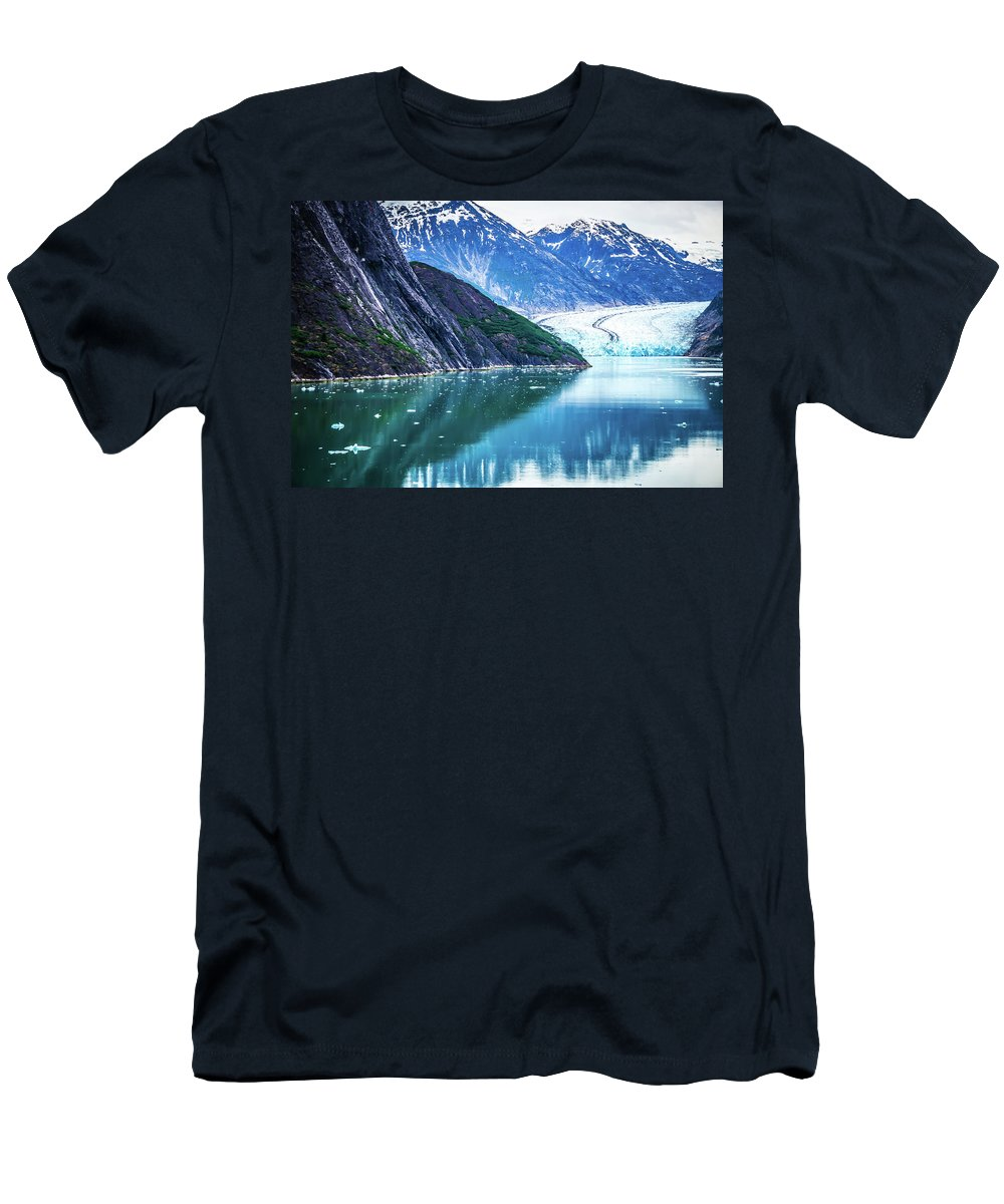 Arm Men's T-Shirt (Athletic Fit) featuring the photograph Sawyer Glacier At Tracy Arm Fjord In Alaska Panhandle by Alex Grichenko