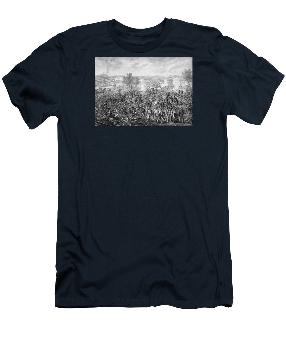 Civil War Men's T-Shirt (Athletic Fit) featuring the mixed media The Battle Of Gettysburg by War Is Hell Store