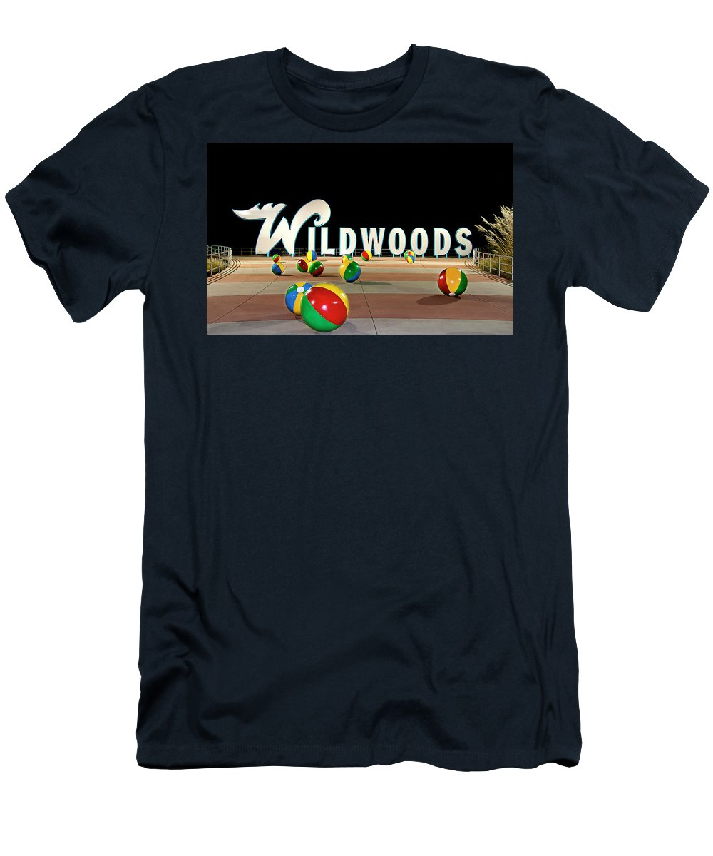 Wildwood's Sign Men's T-Shirt (Athletic Fit) featuring the photograph Wildwood's Sign At Night On The Boardwalk by Retro Views