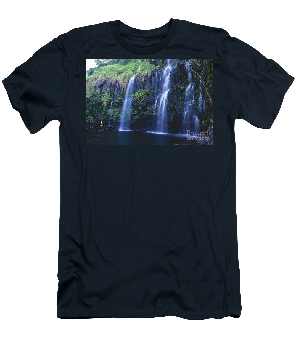 Active Men's T-Shirt (Athletic Fit) featuring the photograph Woman At Waterfall by Dave Fleetham - Printscapes