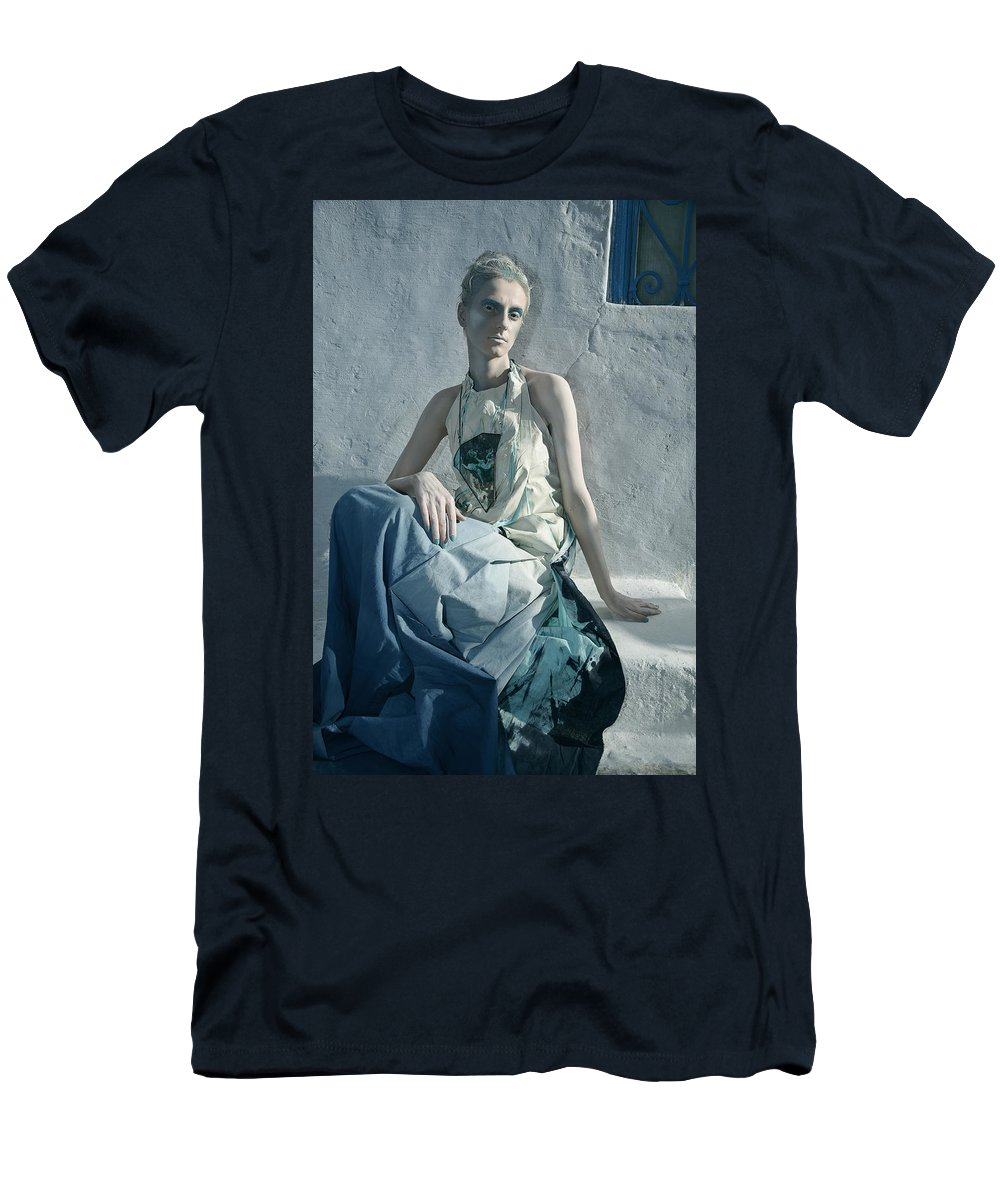 Art Men's T-Shirt (Athletic Fit) featuring the photograph Woman In Ash And Blue Body Paint by Veronica Azaryan