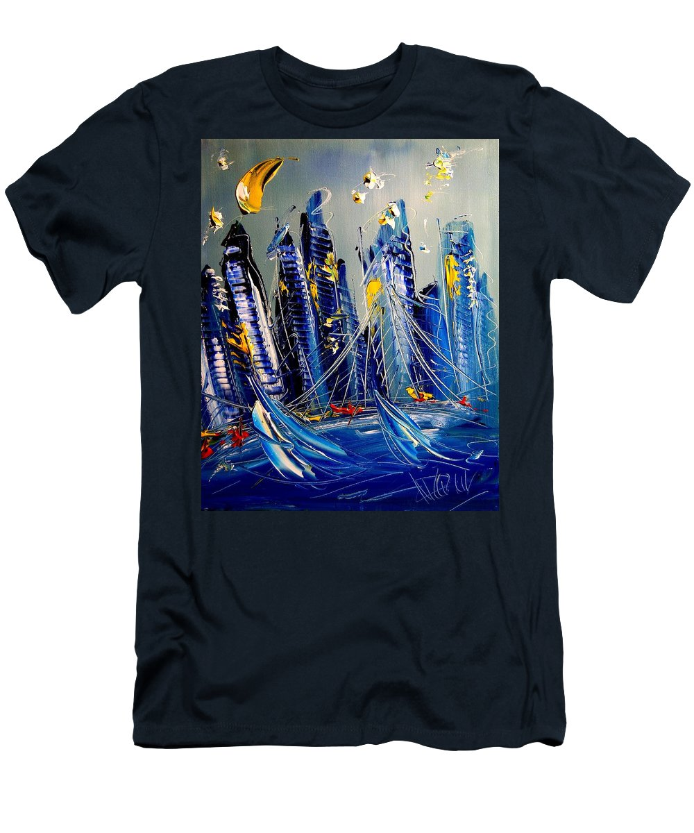 Impressionist Framed Prints Men's T-Shirt (Athletic Fit) featuring the mixed media City by Mark Kazav