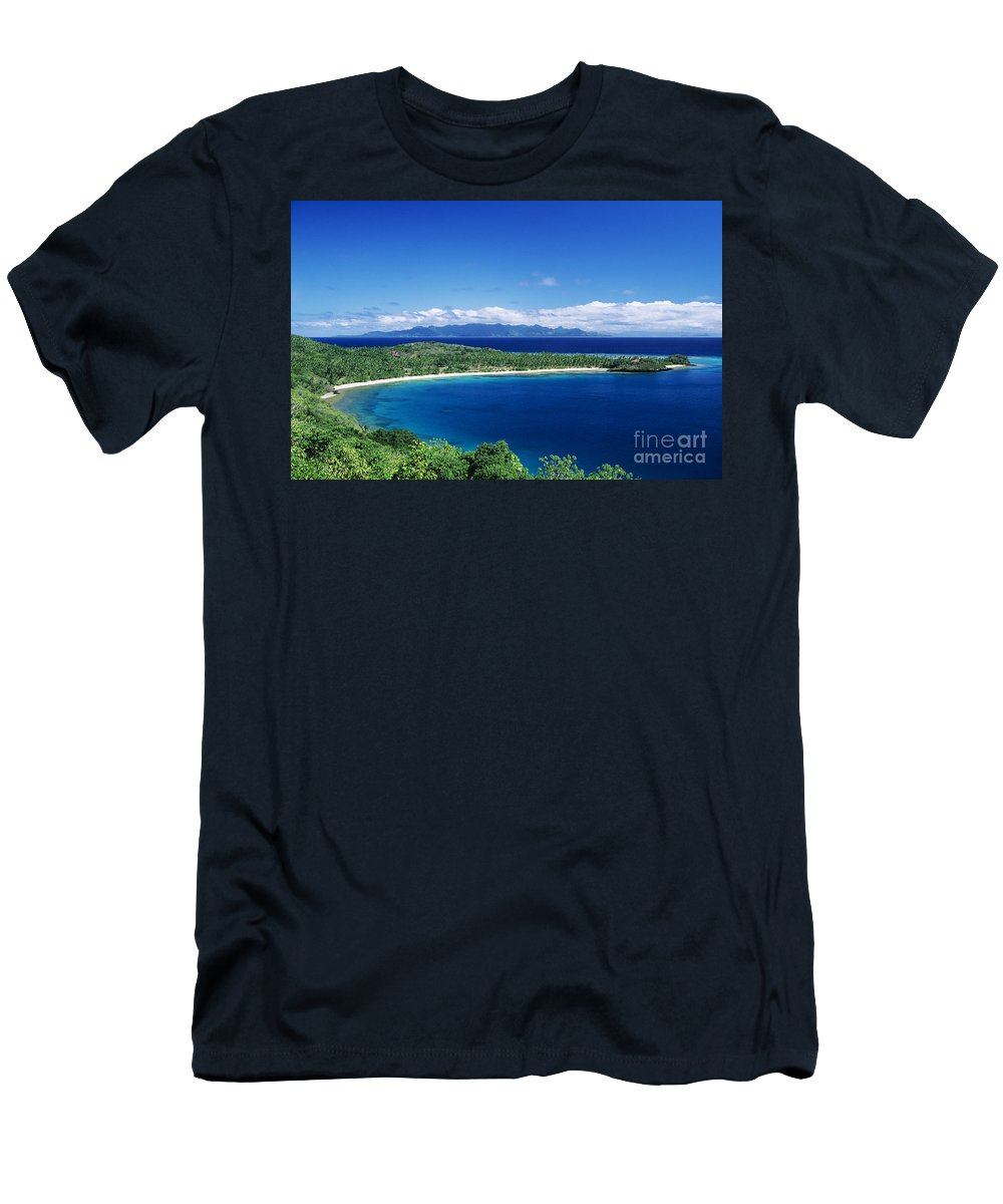 Bay Men's T-Shirt (Athletic Fit) featuring the photograph Fiji Wakaya Island by Larry Dale Gordon - Printscapes