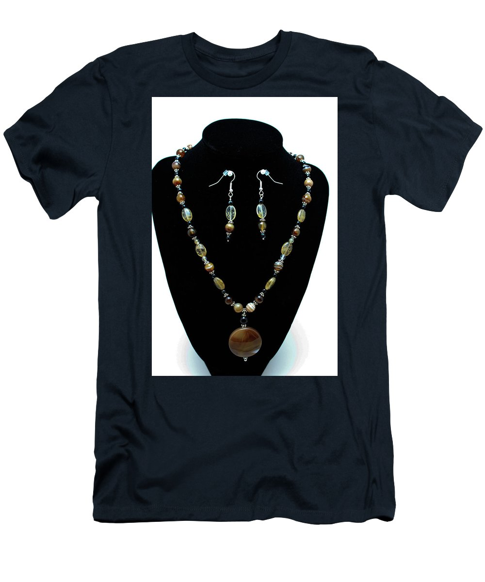 Jewelry Men's T-Shirt (Athletic Fit) featuring the jewelry 3509 Amber Striped Onyx Set by Teresa Mucha