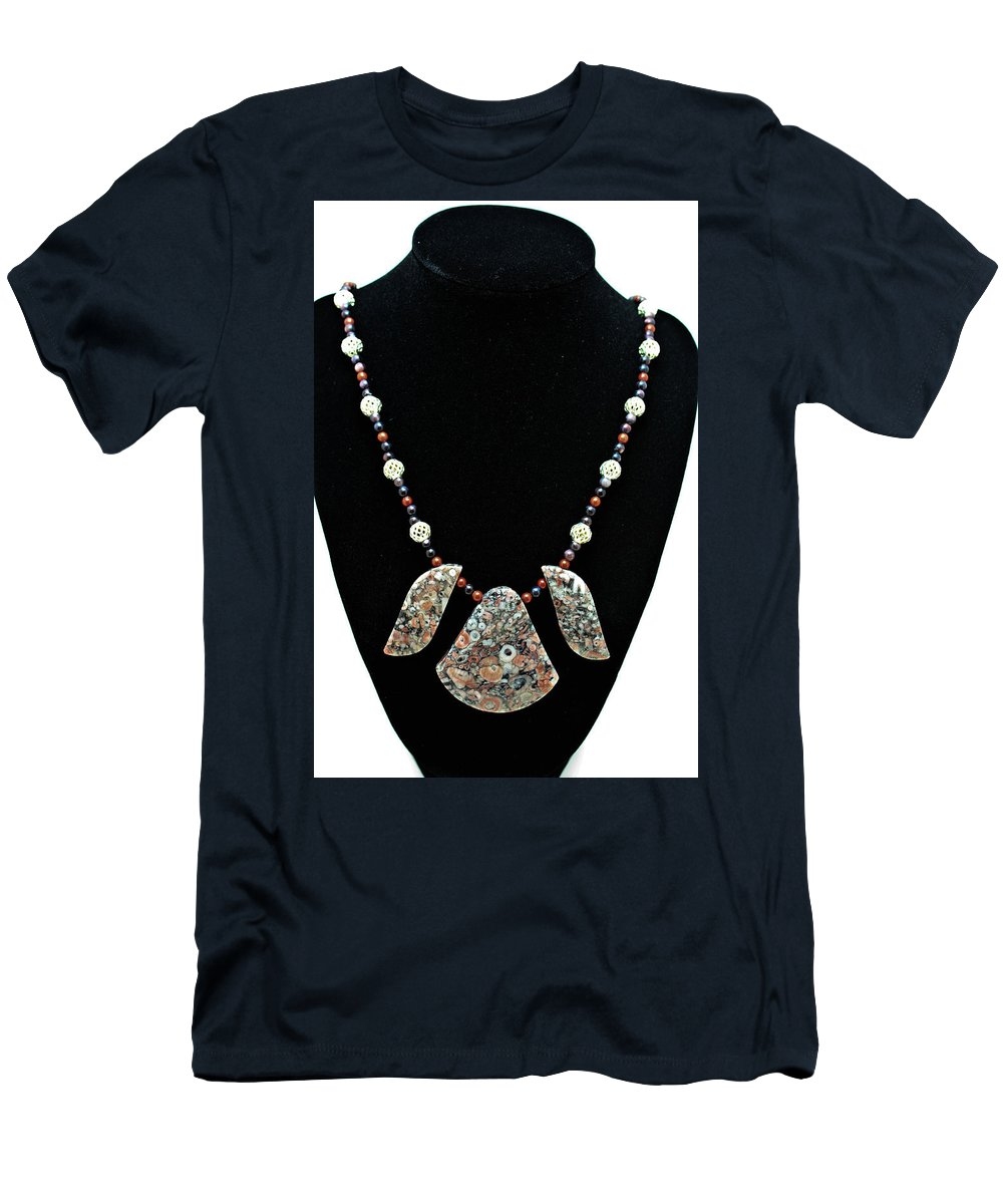 Jewelry Men's T-Shirt (Athletic Fit) featuring the jewelry 3521 Crinoid Fossil Jasper Necklace by Teresa Mucha