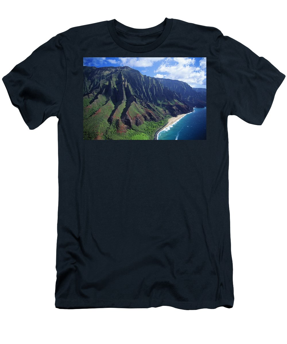 Aerial Men's T-Shirt (Athletic Fit) featuring the photograph Na Pali Coast Aerial by Bob Abraham - Printscapes