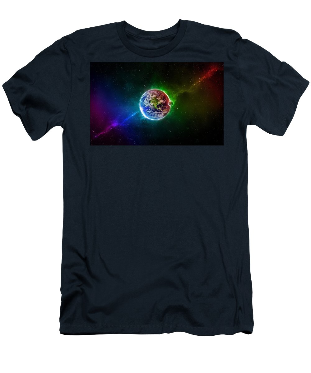 96 D Space Scene Colorful Digital Art Earth Men's T-Shirt (Athletic Fit) featuring the digital art 56996 3d Space Scene Colorful Digital Art Earth by Rose Lynn