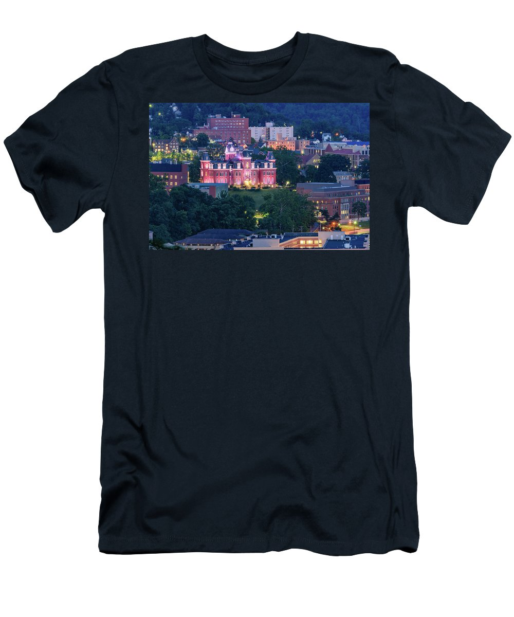 West Men's T-Shirt (Athletic Fit) featuring the photograph Downtown Morgantown And West Virginia University by Cityscape Photography