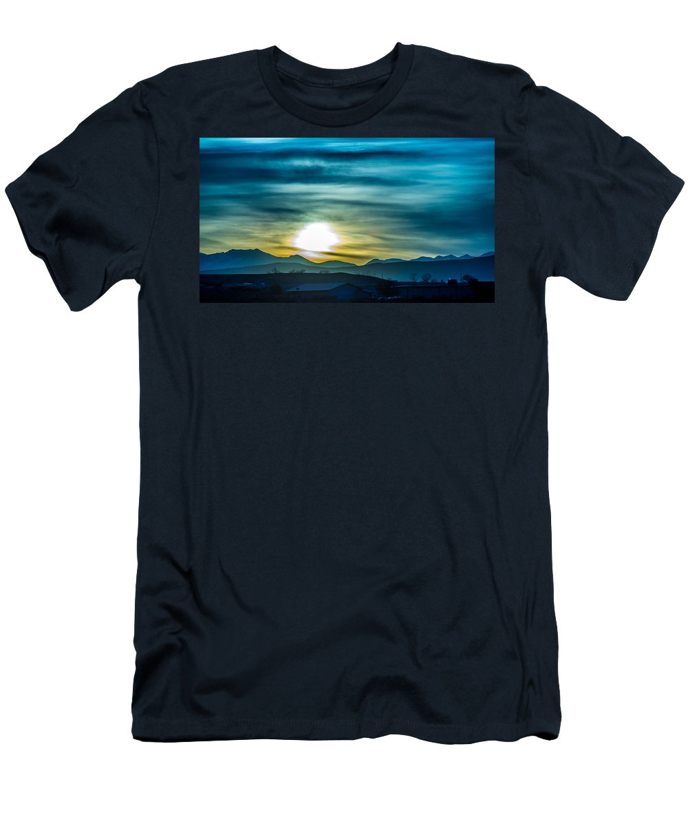 Colorado Men's T-Shirt (Athletic Fit) featuring the photograph Sunrise Over Colorado Rocky Mountains by Alex Grichenko