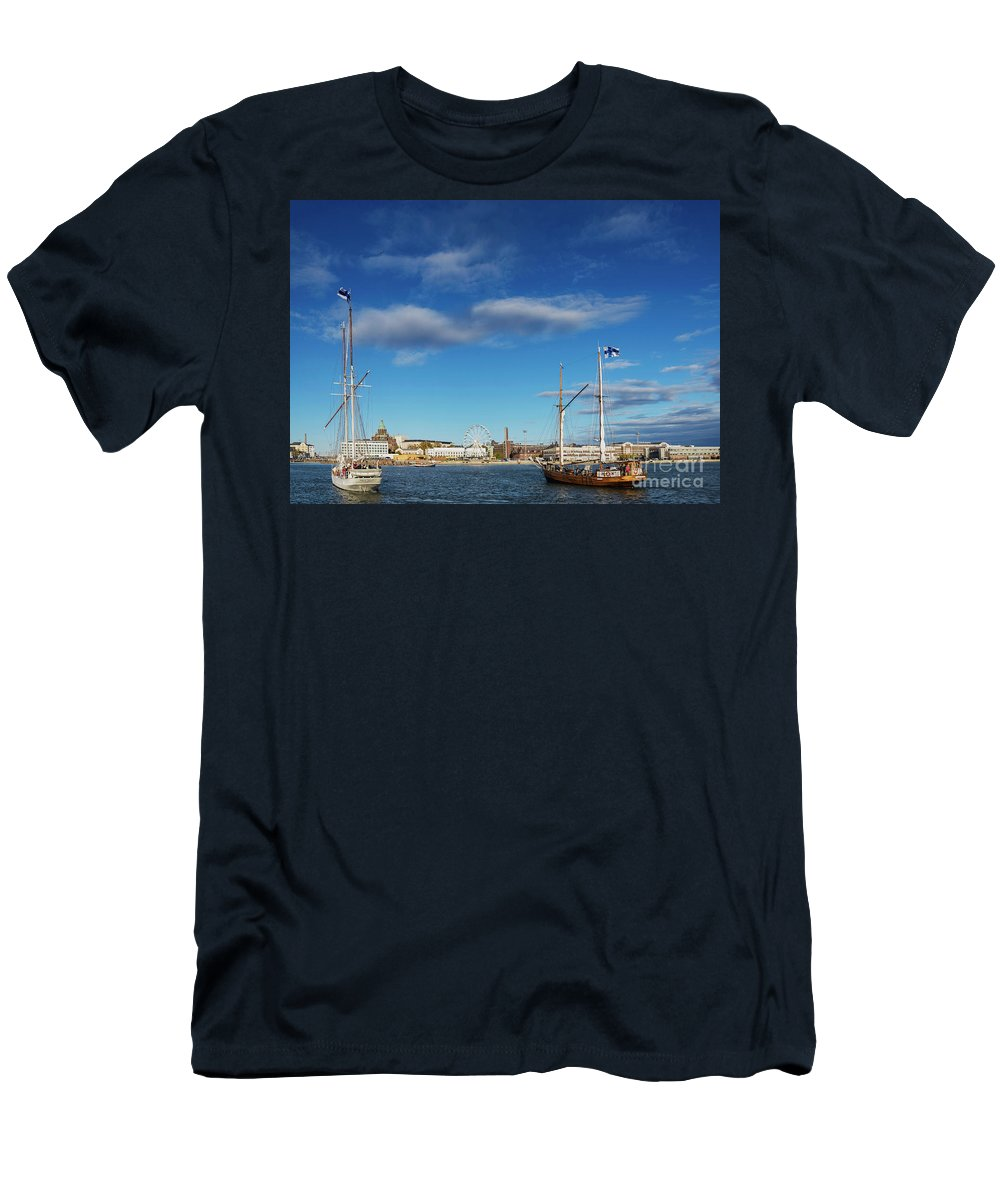 Architecture Men's T-Shirt (Athletic Fit) featuring the photograph Old Sailing Boats In Helsinki City Harbor Port Finland by Jacek Malipan