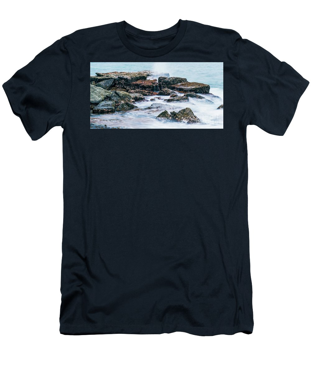Beach Men's T-Shirt (Athletic Fit) featuring the photograph Rocks And Waves At Point Cartwright by Rob D