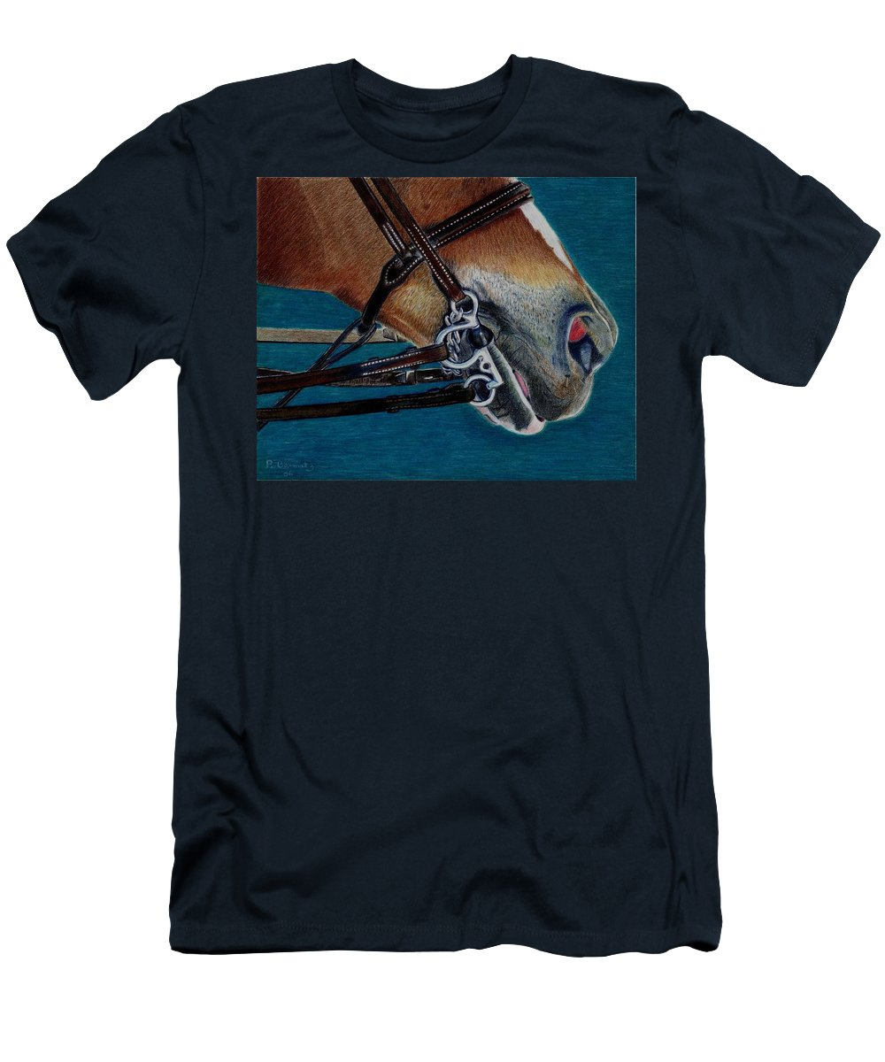 Art+prints Men's T-Shirt (Athletic Fit) featuring the painting A Bit Of Control - Horse Bridle Painting by Patricia Barmatz