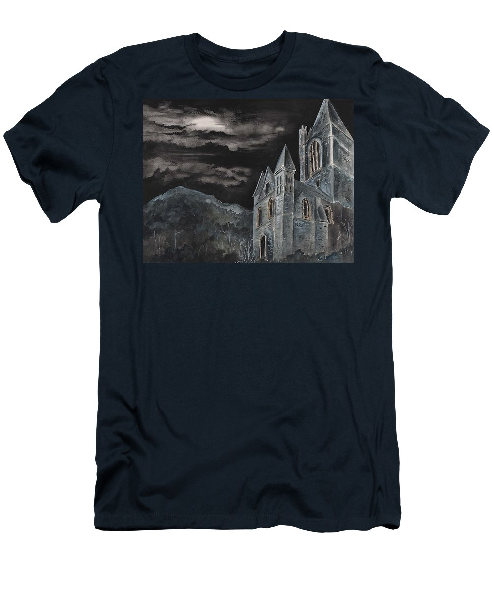 Landscape Gothic House Castle Church Dark Sky Watercolor Men's T-Shirt (Athletic Fit) featuring the painting A Dark Strange Night by Brenda Owen