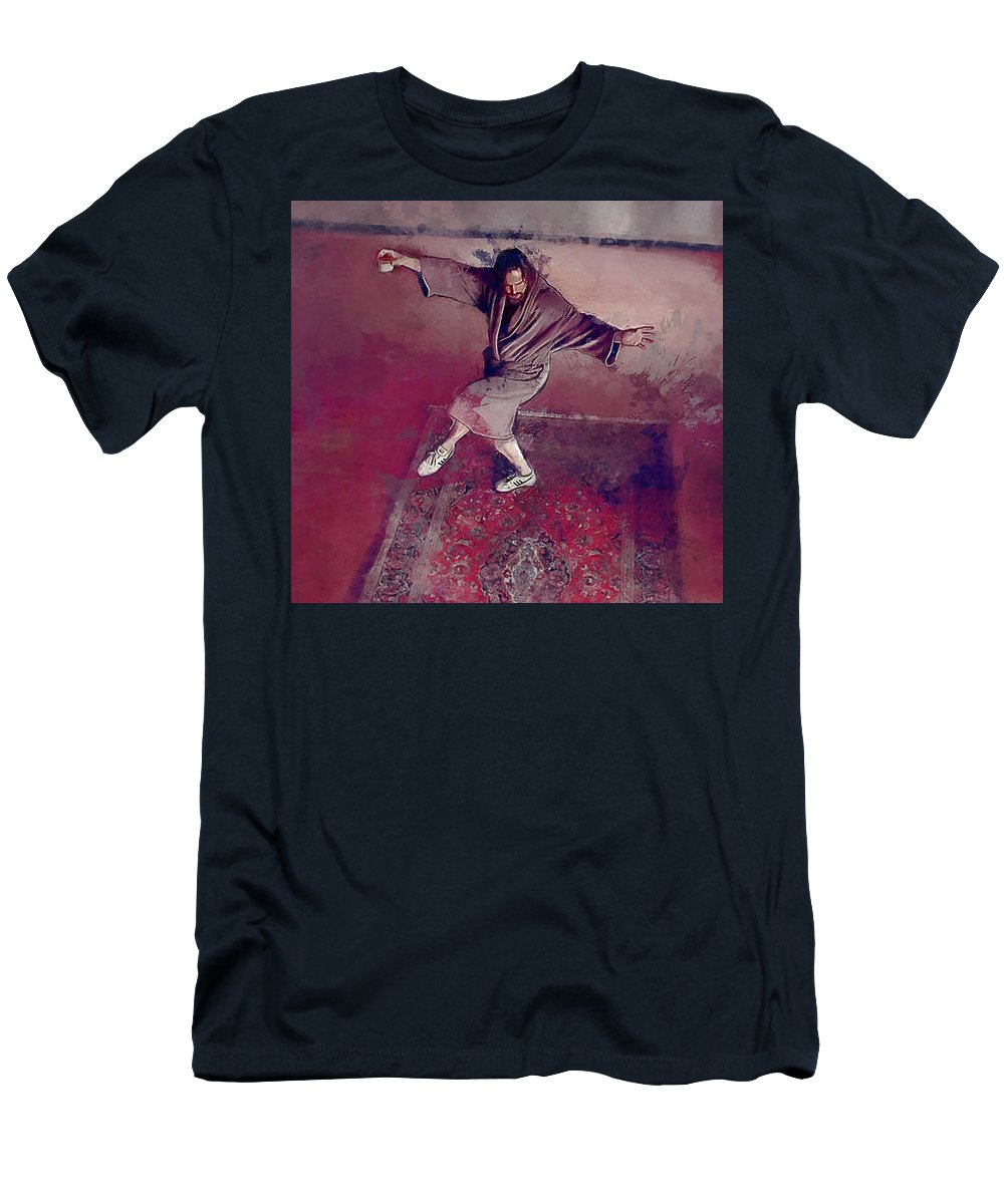Lebowski Men's T-Shirt (Athletic Fit) featuring the painting A Dude-like Zen - The Big Lebowksi by Joseph Oland