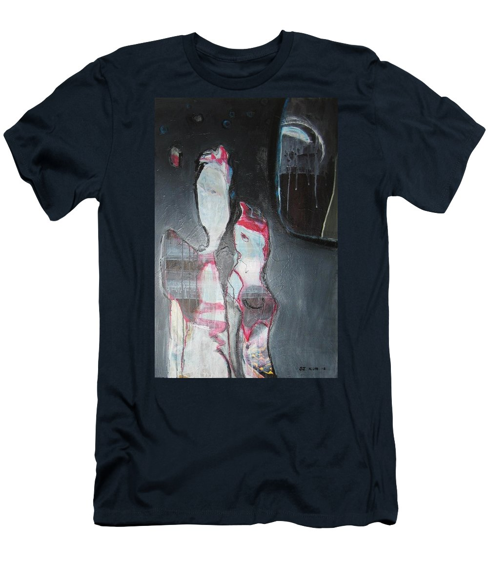 Abstract Paintings Men's T-Shirt (Athletic Fit) featuring the painting A Flase Rumor by Seon-Jeong Kim
