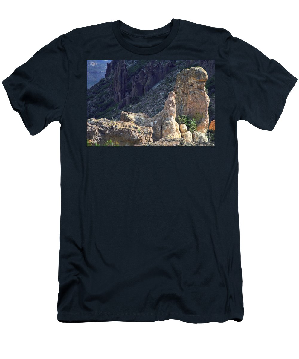 Rock Formations Men's T-Shirt (Athletic Fit) featuring the photograph A Hard Ride by Kathy McClure