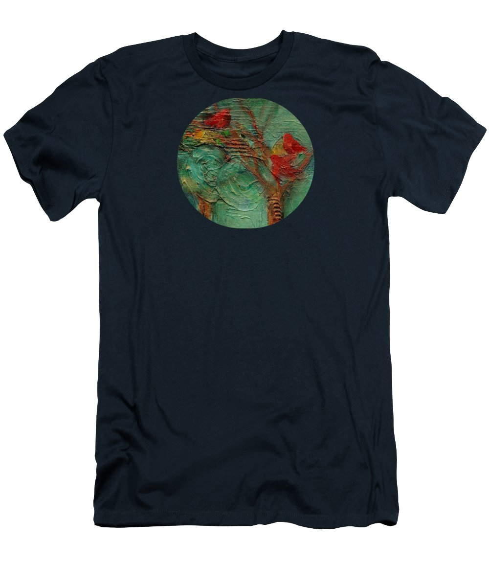 Whimsical Bird Painting Men's T-Shirt (Athletic Fit) featuring the painting A Home In The Woods by Mary Wolf