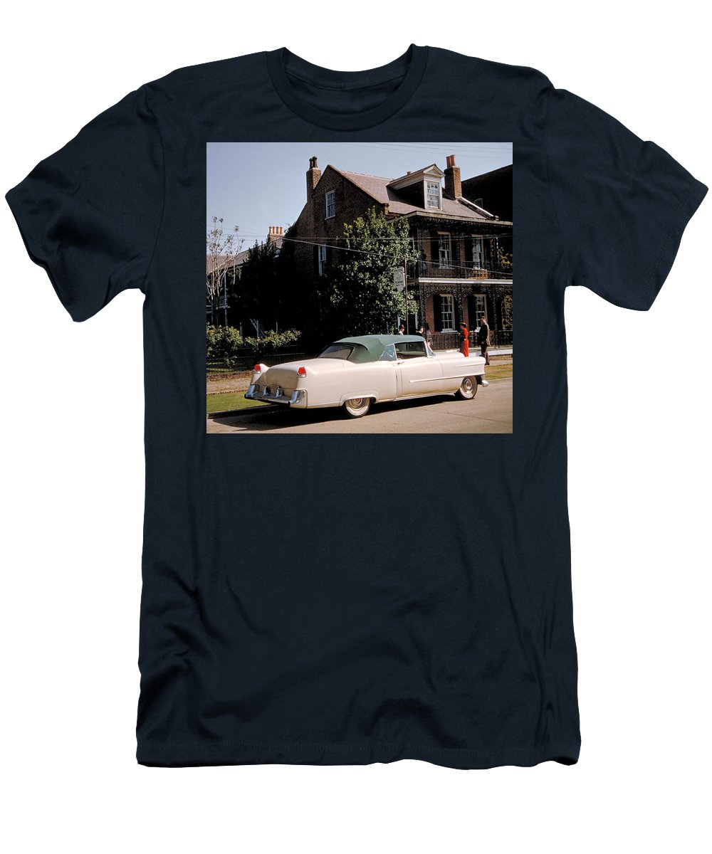 Cadillac Men's T-Shirt (Athletic Fit) featuring the photograph A Hot Date In A Pink Caddy by Jerry McElroy