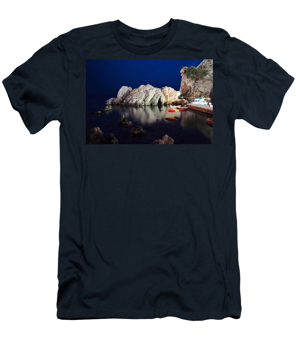 Dubrovnik Men's T-Shirt (Athletic Fit) featuring the photograph A Night In Croatia by Piotr Kuzniar