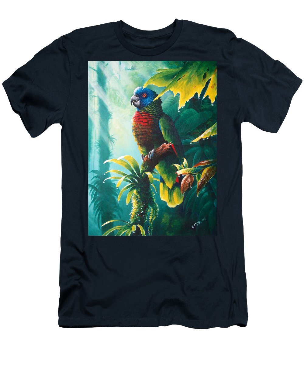 Chris Cox Men's T-Shirt (Athletic Fit) featuring the painting A Shady Spot - St. Lucia Parrot by Christopher Cox