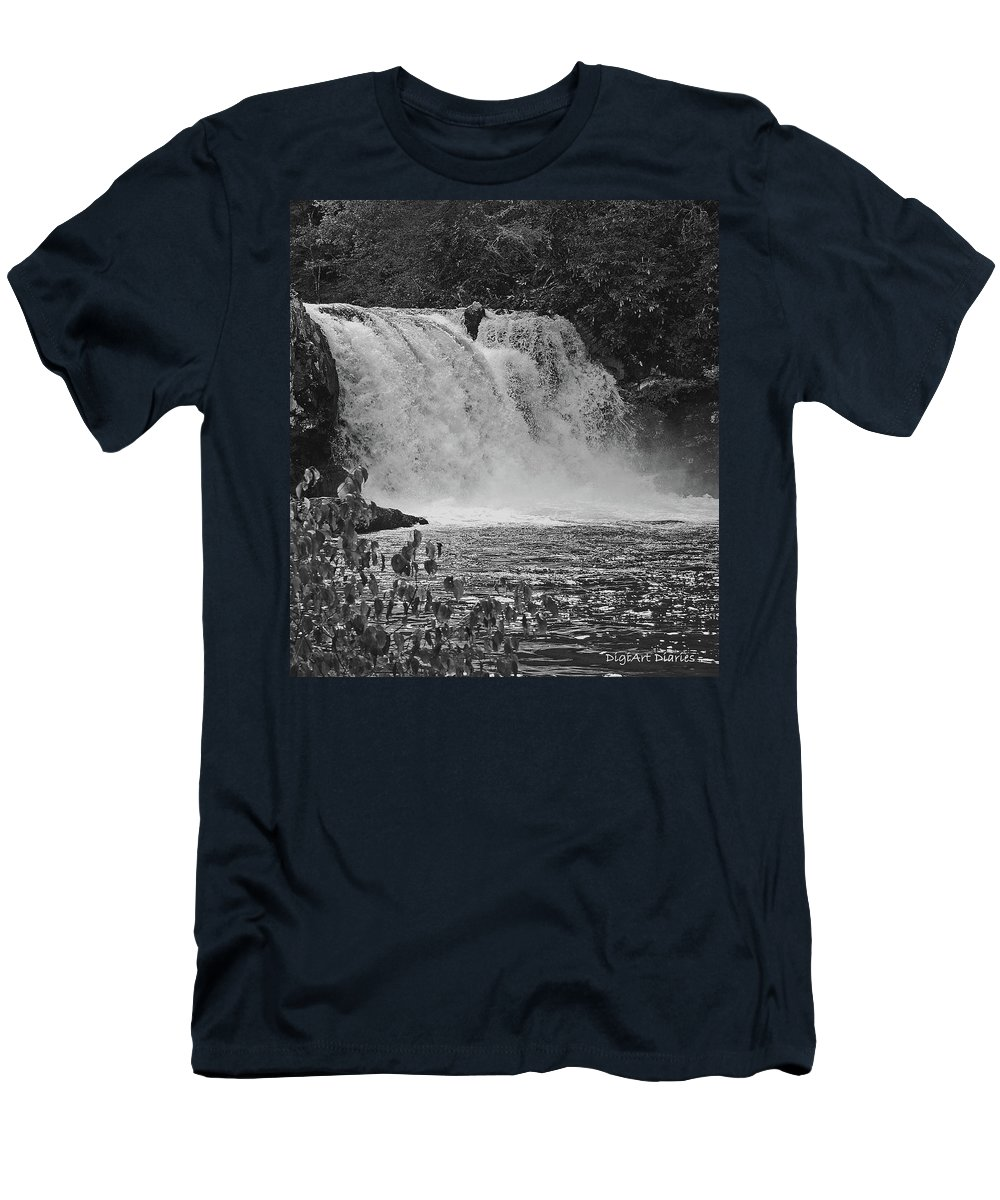 Abrams Falls Men's T-Shirt (Athletic Fit) featuring the digital art Abrams Falls Cades Cove Tn Black And White by DigiArt Diaries by Vicky B Fuller