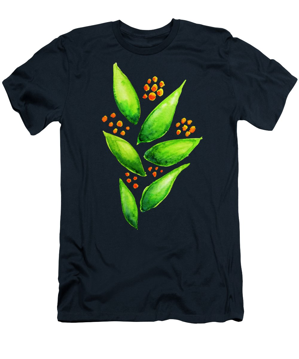 Illustration T-Shirt featuring the digital art Abstract Watercolor Green Plant With Orange Berries by Boriana Giormova