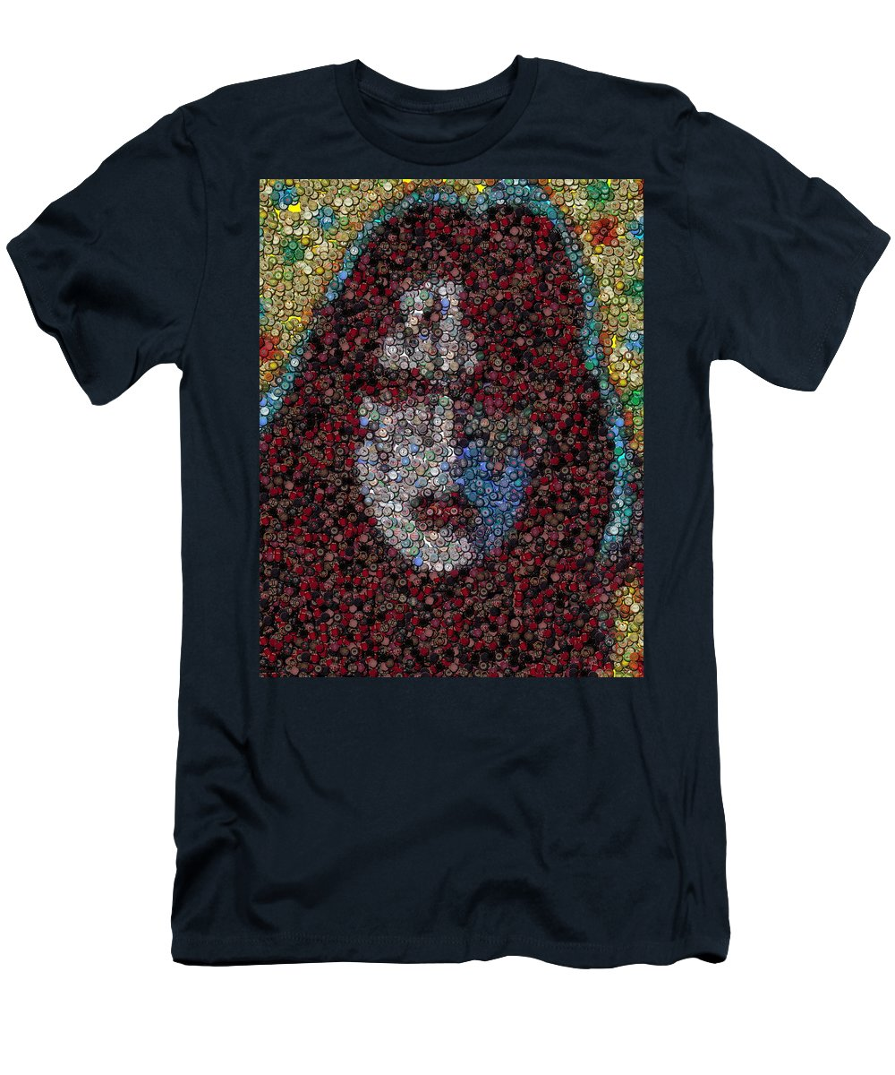 Kiss Men's T-Shirt (Athletic Fit) featuring the digital art Ace Frehley Poker Chip Mosaic by Paul Van Scott