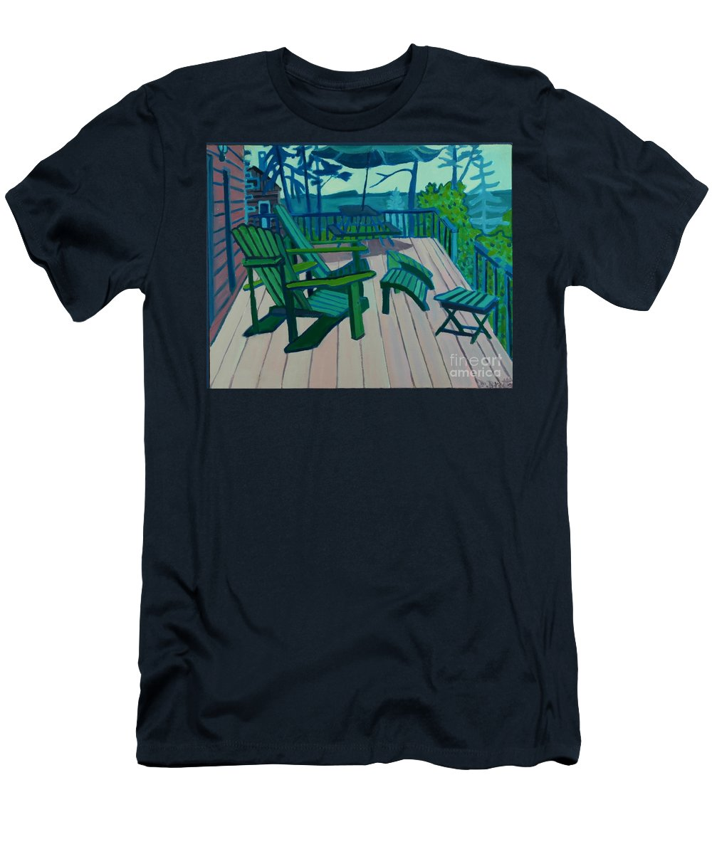 Ocean Men's T-Shirt (Athletic Fit) featuring the painting Adirondack Chairs Maine by Debra Bretton Robinson