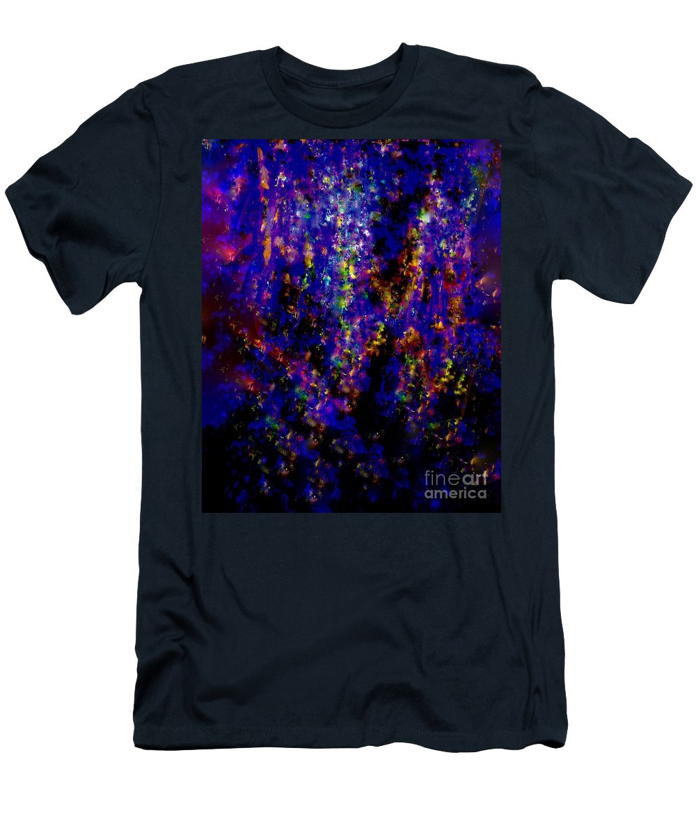 Painting-abstract Acrylic Men's T-Shirt (Athletic Fit) featuring the mixed media Adrenaline Rush In The Night by Catalina Walker