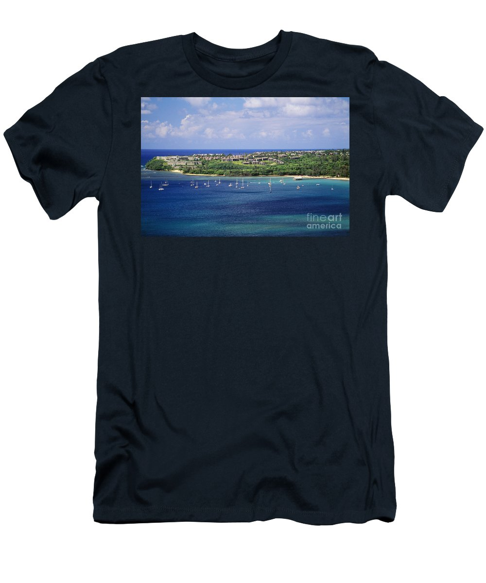 Above Men's T-Shirt (Athletic Fit) featuring the photograph aerial of Hanalei Bay and Princeville Resort by Peter French - Printscapes