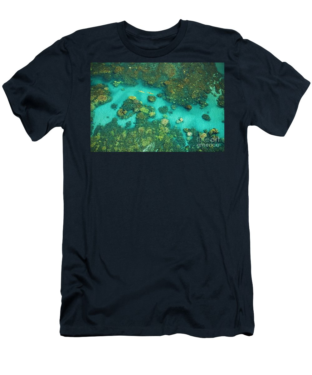 Above Men's T-Shirt (Athletic Fit) featuring the photograph Aerial Of Two Kayakers by Ron Dahlquist - Printscapes