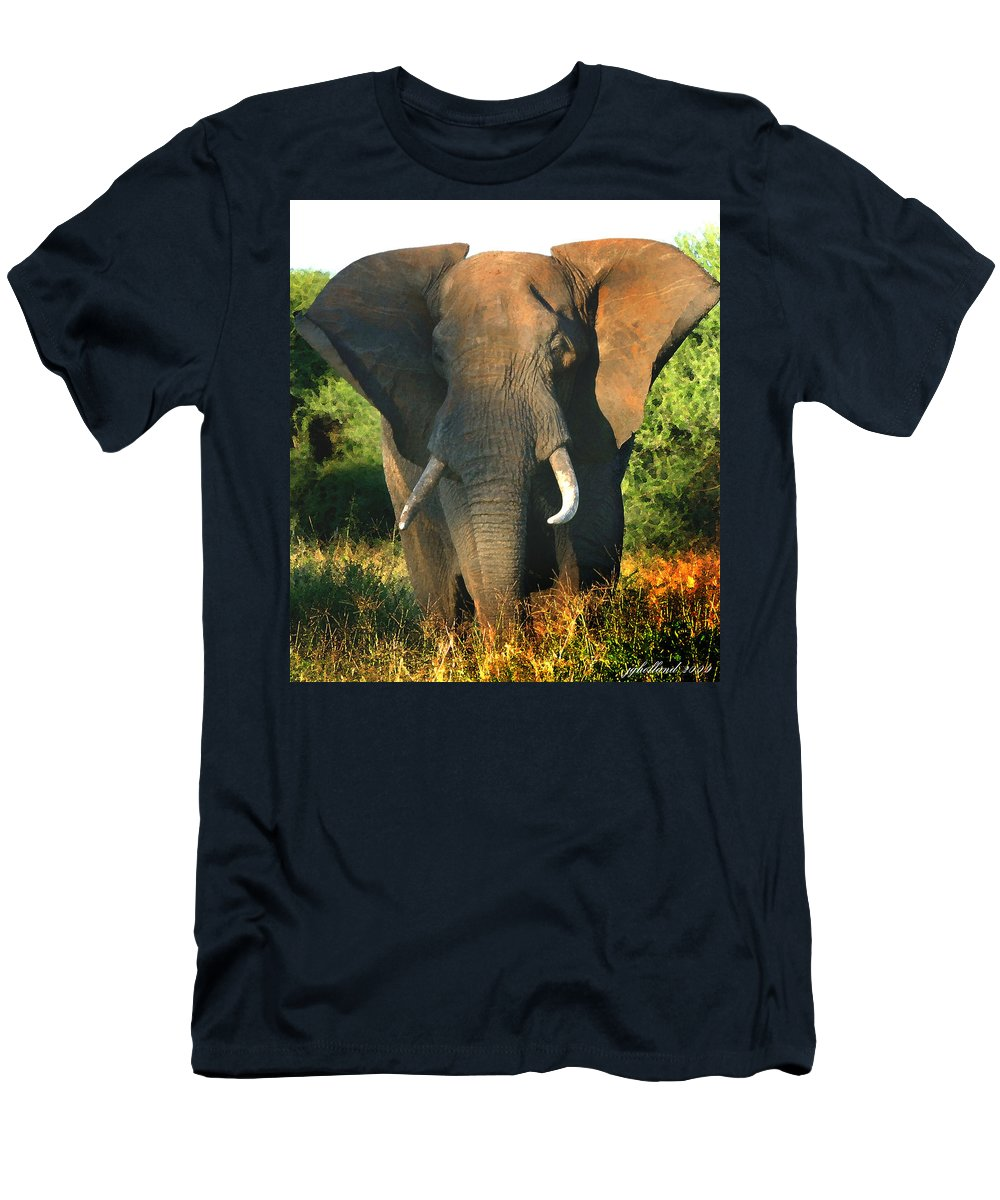 African Bull Elephant Men's T-Shirt (Athletic Fit) featuring the photograph African Bull Elephant by Joseph G Holland
