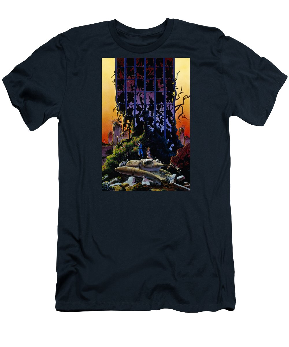 Future Men's T-Shirt (Athletic Fit) featuring the painting After The Flames by Richard Hescox