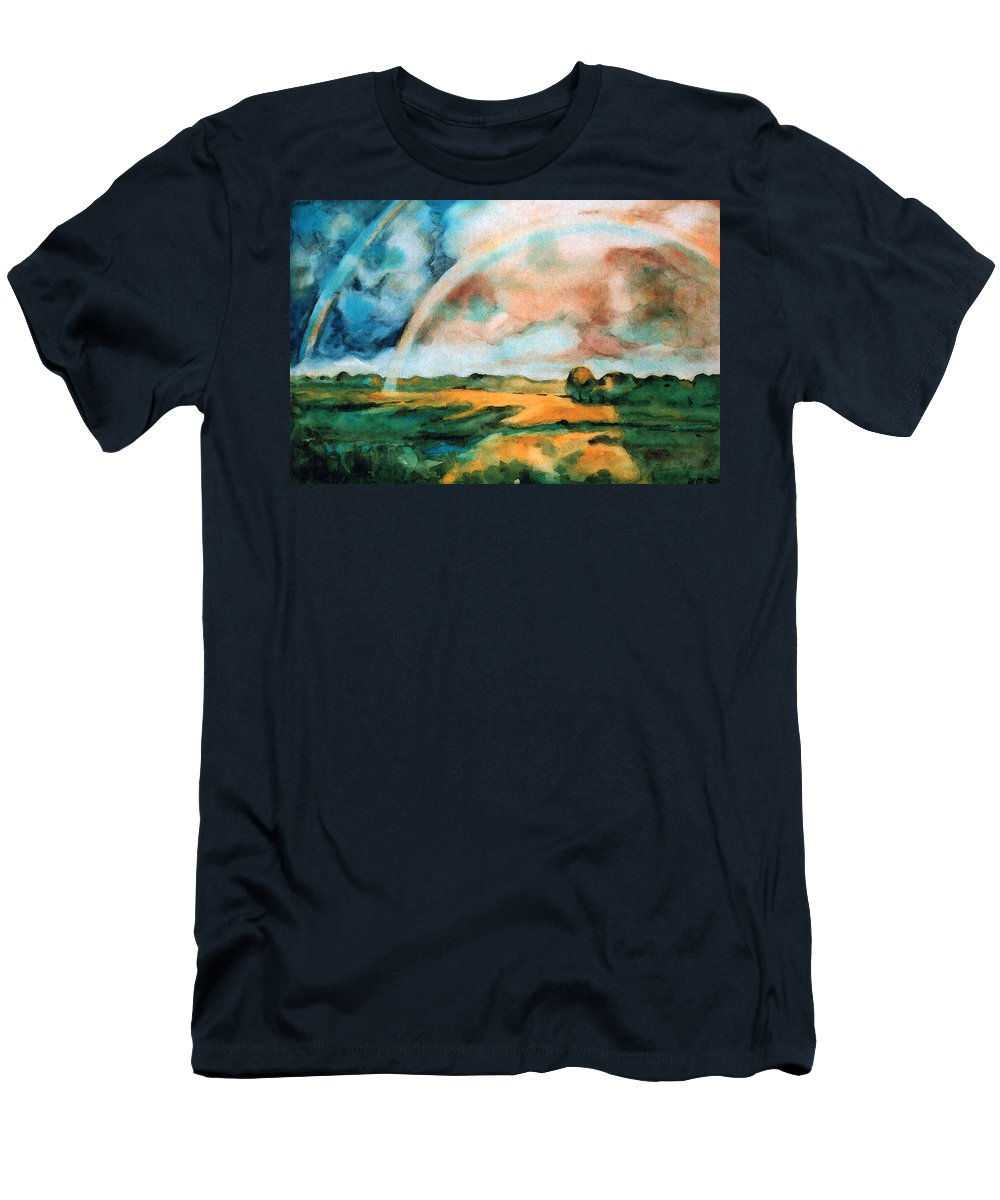 Landscape Men's T-Shirt (Athletic Fit) featuring the painting After The Rain by Iliyan Bozhanov