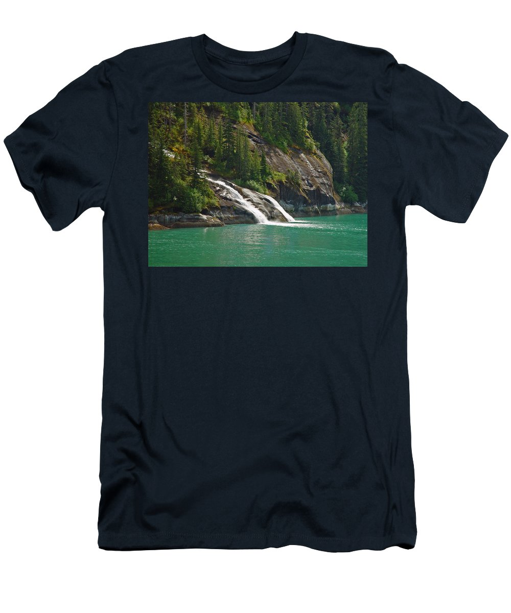 Waterfall Men's T-Shirt (Athletic Fit) featuring the photograph Alaska Tracy Arm by Heather Coen