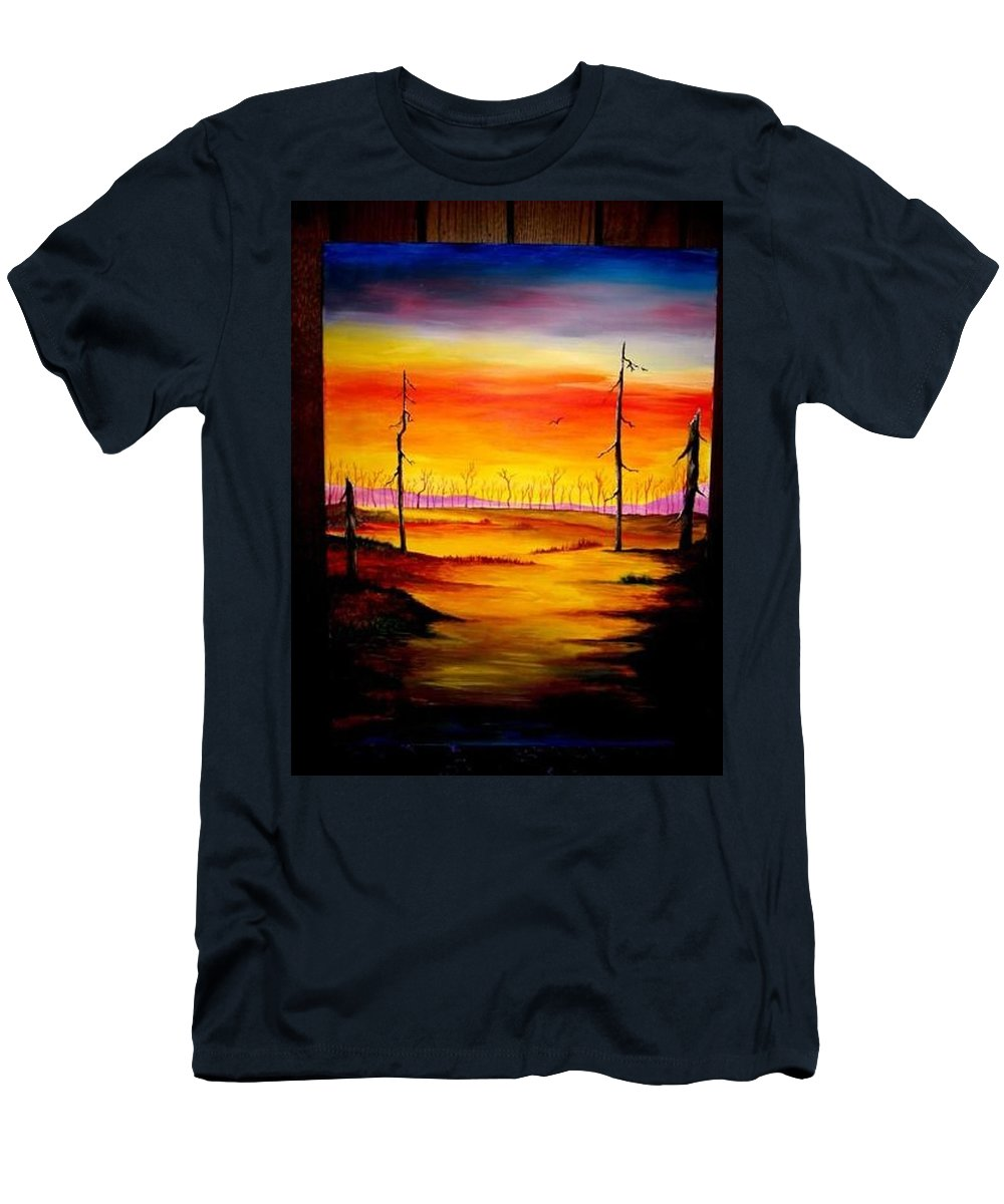 Landscape Men's T-Shirt (Athletic Fit) featuring the painting Alone by Glory Fraulein Wolfe