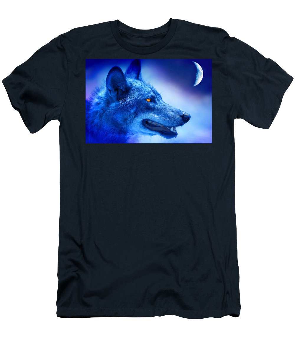 Wolf Men's T-Shirt (Athletic Fit) featuring the photograph Alpha Wolf by Mal Bray