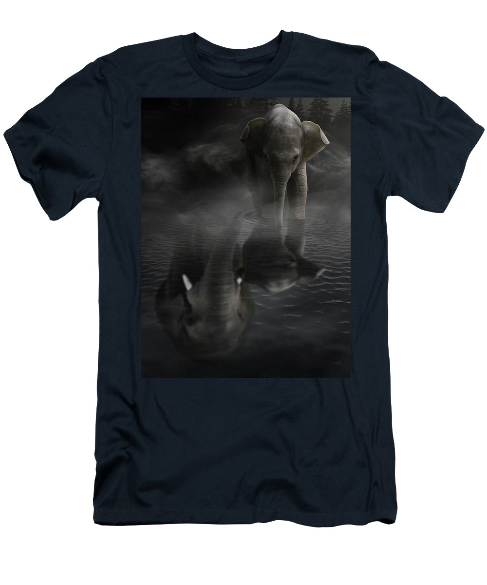 Elephant Men's T-Shirt (Athletic Fit) featuring the digital art Always By Yourside by Sandevil Sandhya