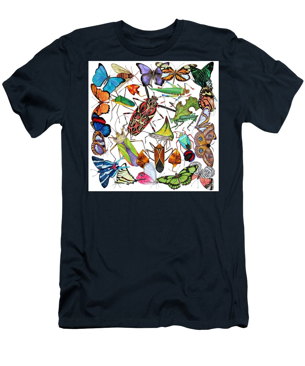 Insects Men's T-Shirt (Athletic Fit) featuring the painting Amazon Insects by Lucy Arnold