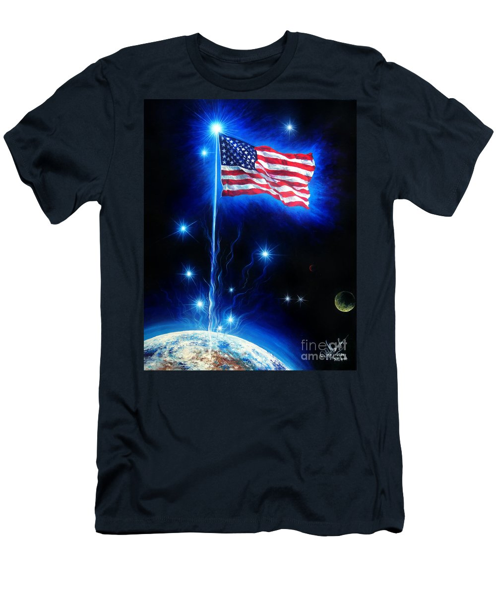 Ametican Men's T-Shirt (Athletic Fit) featuring the painting American Flag. The Star Spangled Banner by Sofia Metal Queen