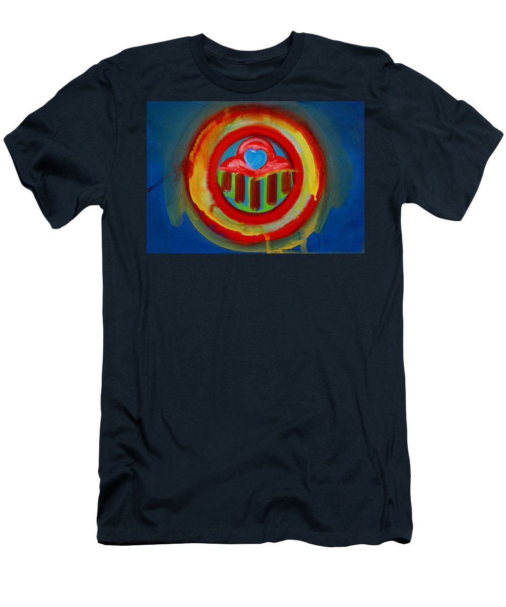 Button Men's T-Shirt (Athletic Fit) featuring the painting American Love Button by Charles Stuart