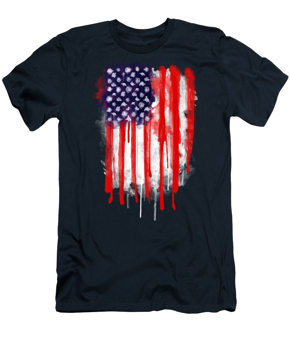 America T-Shirt featuring the painting American Spatter Flag by Nicklas Gustafsson