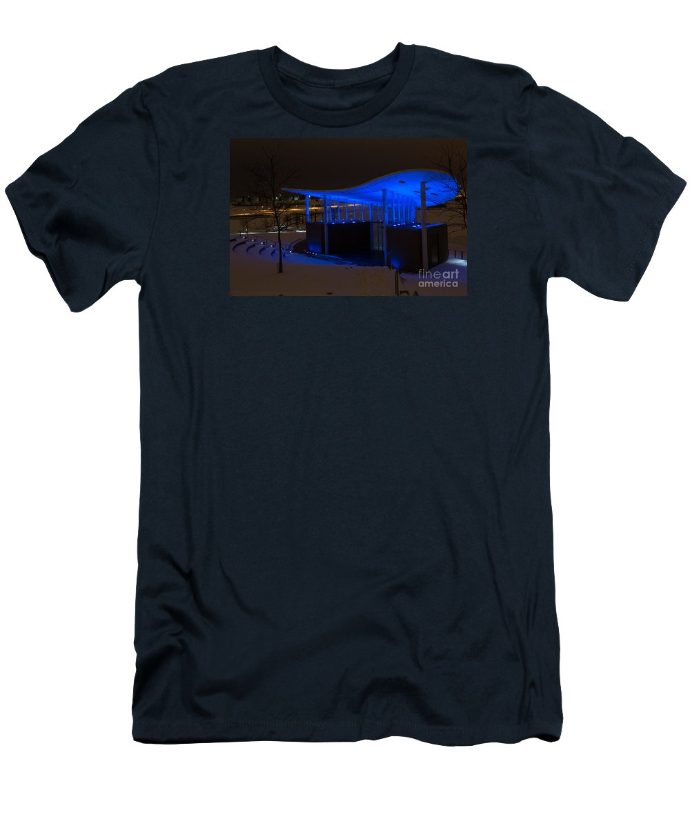 Amphitheater Men's T-Shirt (Athletic Fit) featuring the digital art Amphitheater In Blue by Gary Rieks
