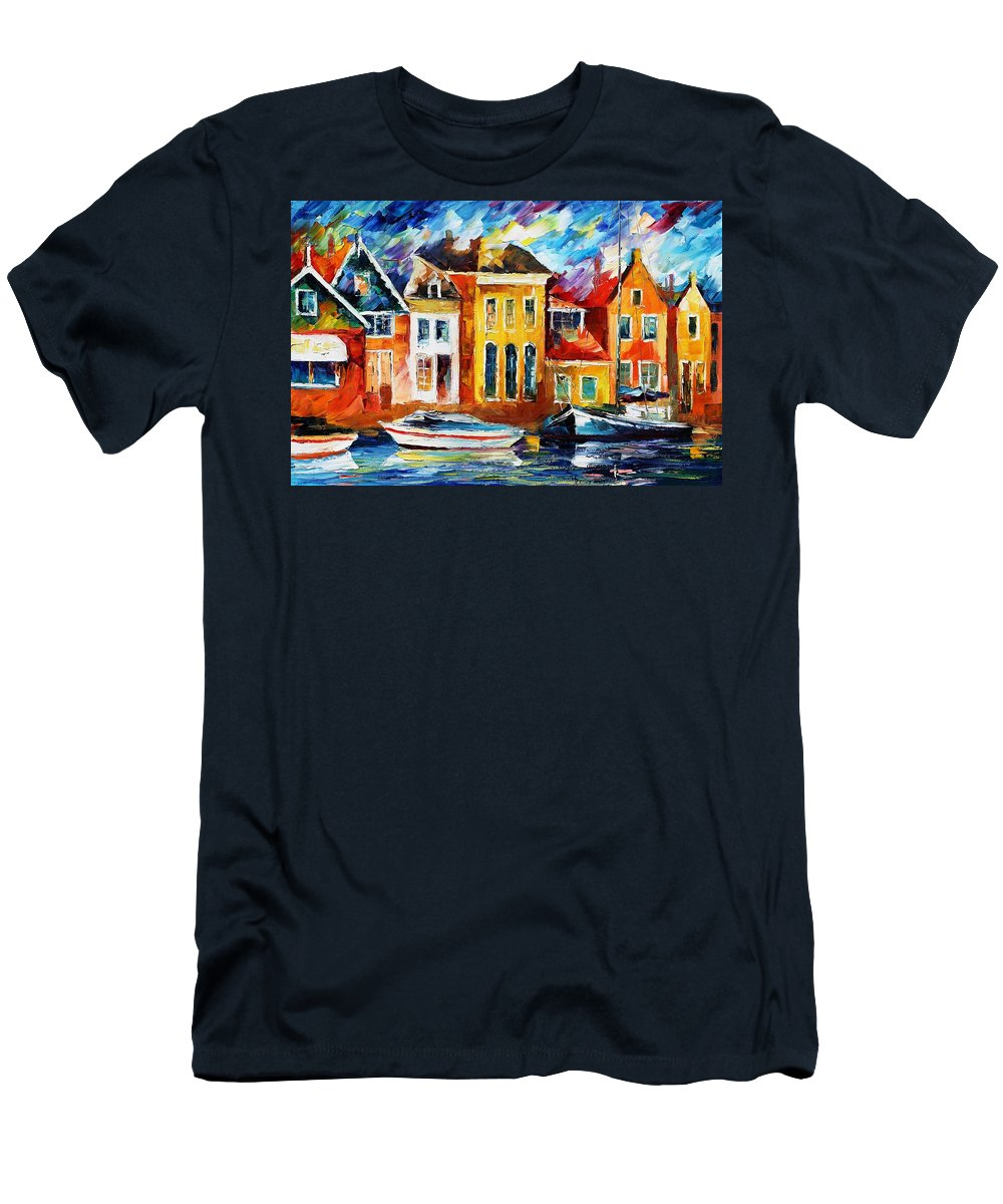 Afremov Men's T-Shirt (Athletic Fit) featuring the painting Amsterdam by Leonid Afremov