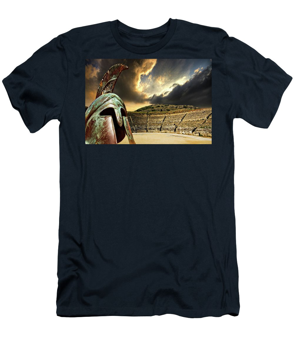 Greece Men's T-Shirt (Athletic Fit) featuring the photograph Ancient Greece by Meirion Matthias