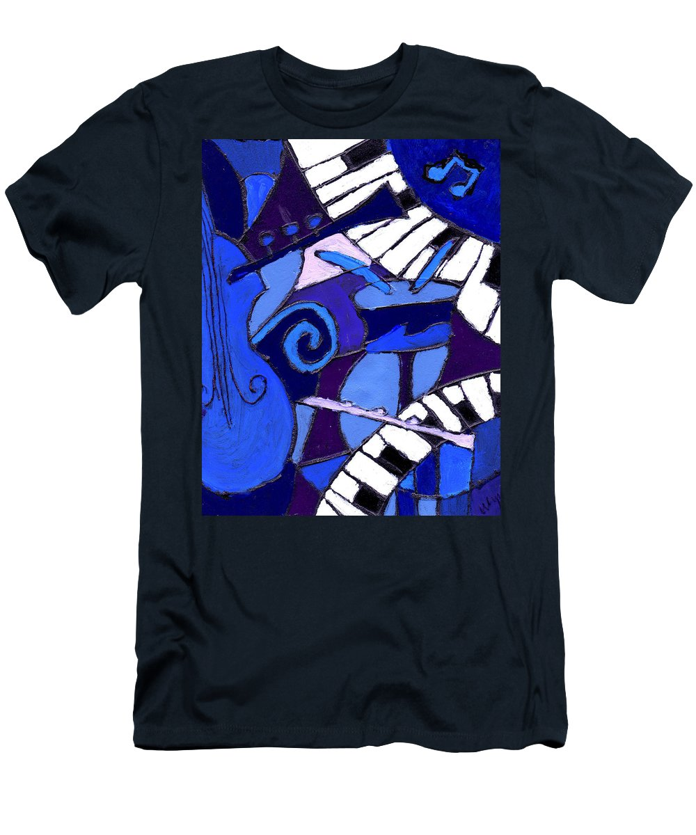 Blues Men's T-Shirt (Athletic Fit) featuring the painting and All that Jazz 3 by Wayne Potrafka