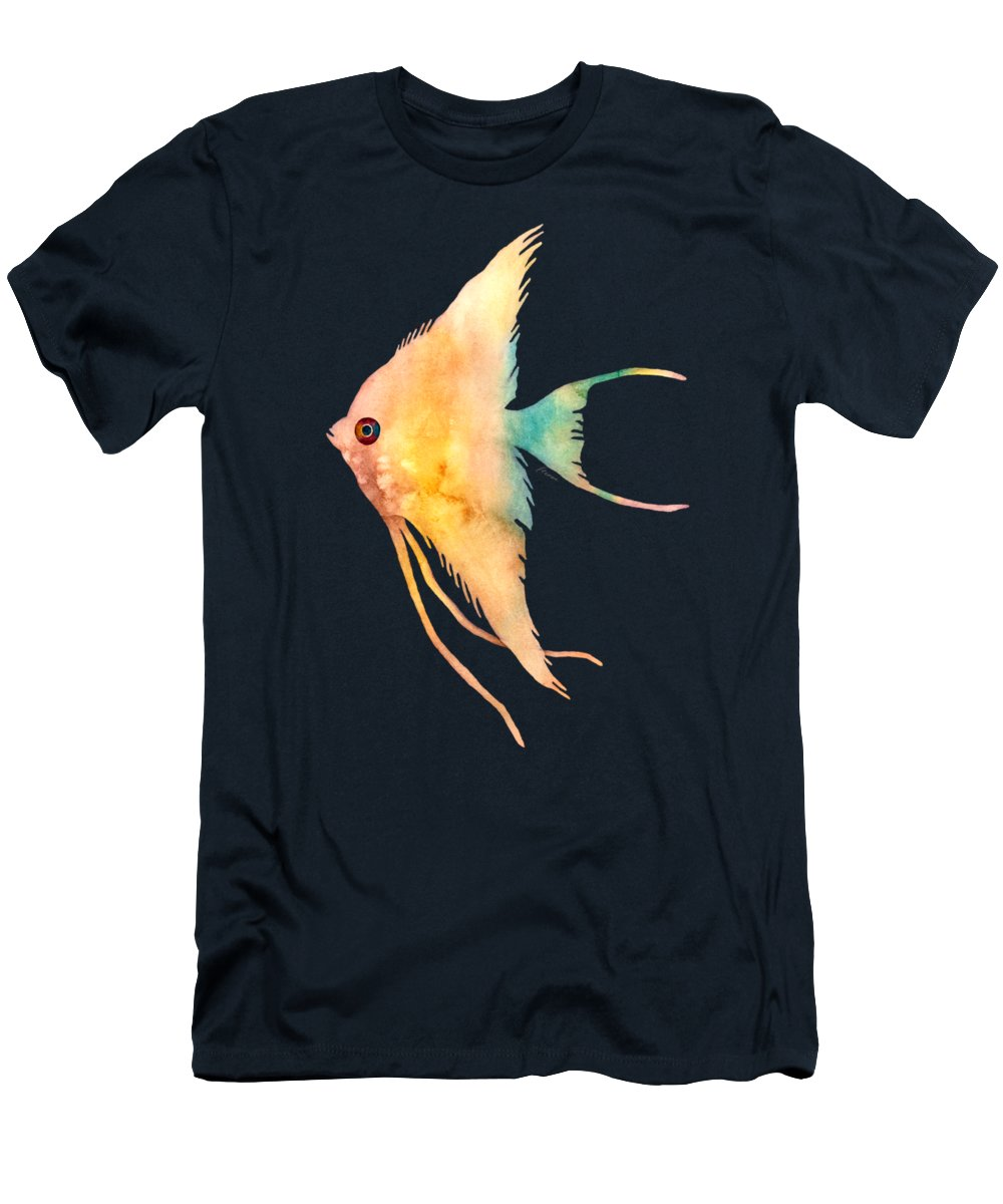 Fish T-Shirt featuring the painting Angelfish II - solid background by Hailey E Herrera