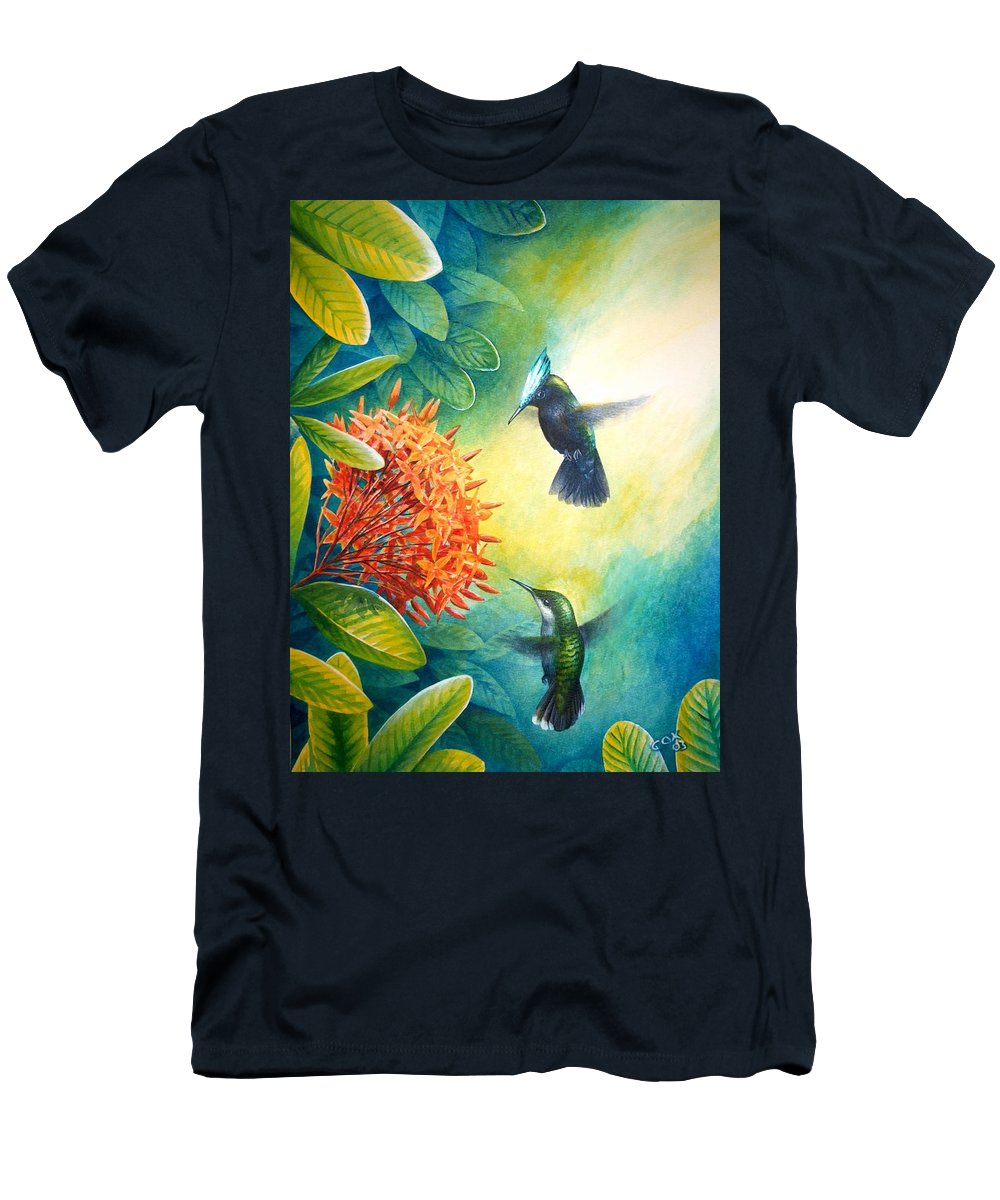Chris Cox Men's T-Shirt (Athletic Fit) featuring the painting Antillean Crested Hummingbirds And Ixora by Christopher Cox