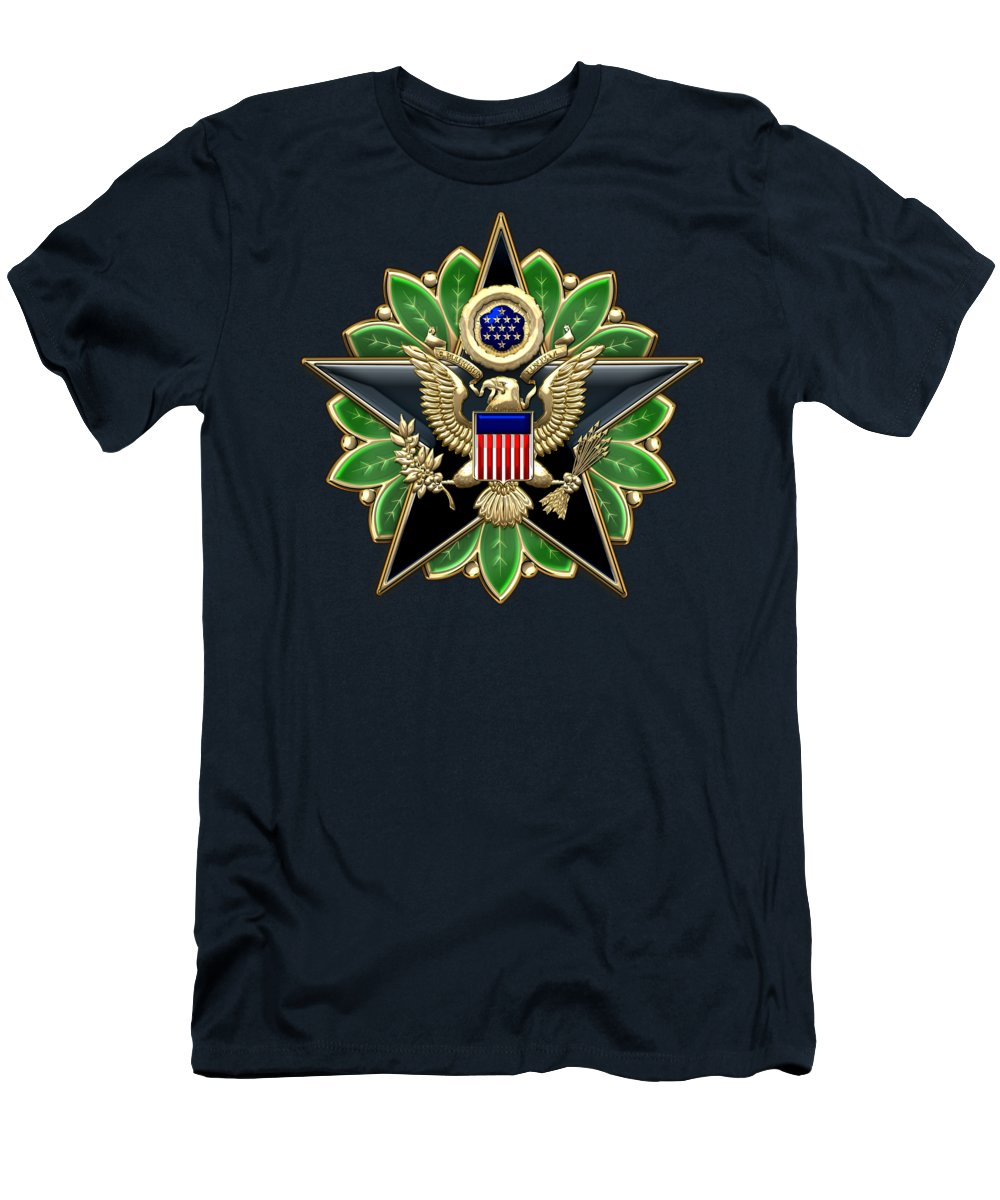 fa31104b Army Staff Identification Badge On Blue Velvet T-Shirt for Sale by Serge  Averbukh