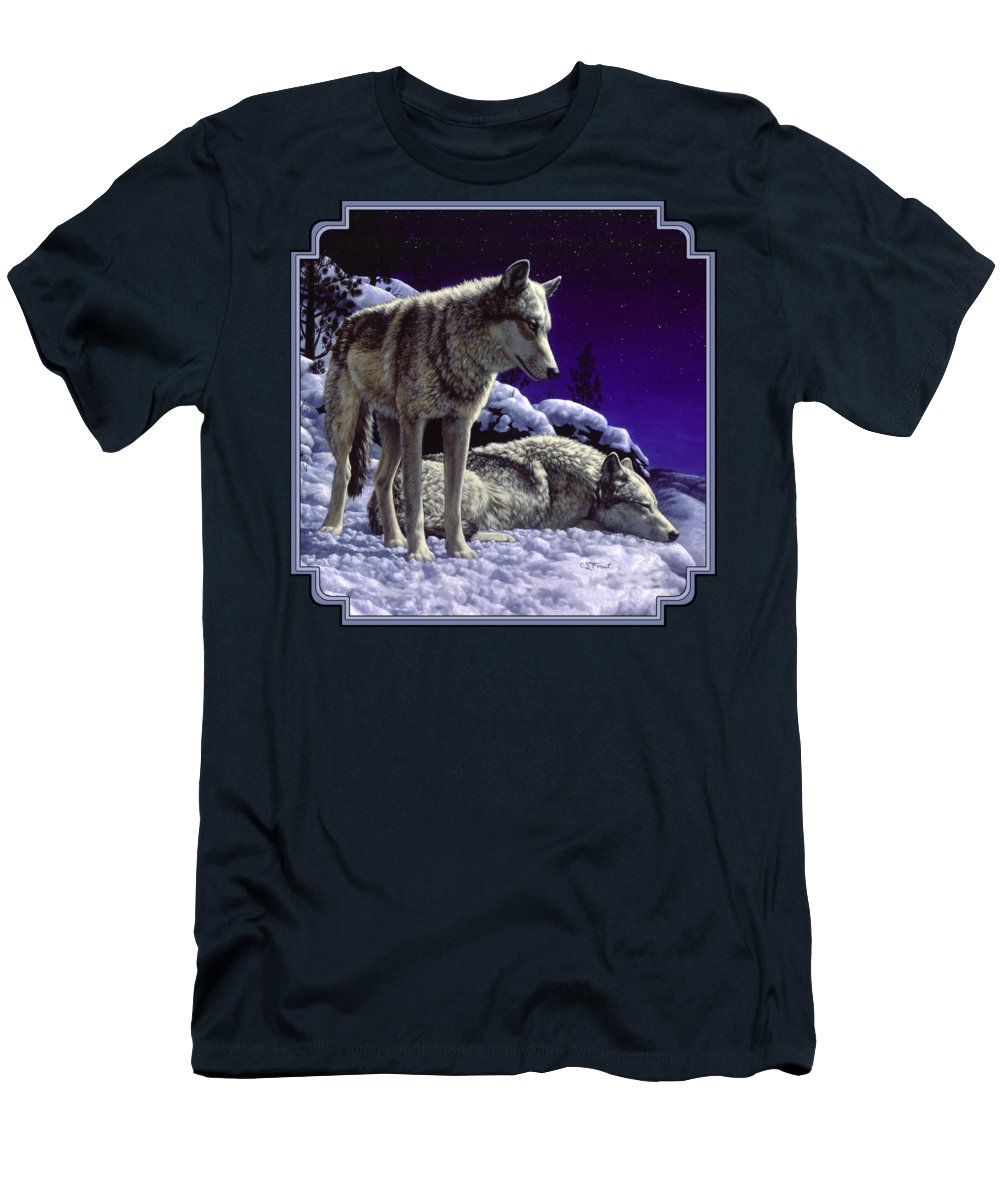 Wolf T-Shirt featuring the painting Wolf Painting - Night Watch by Crista Forest